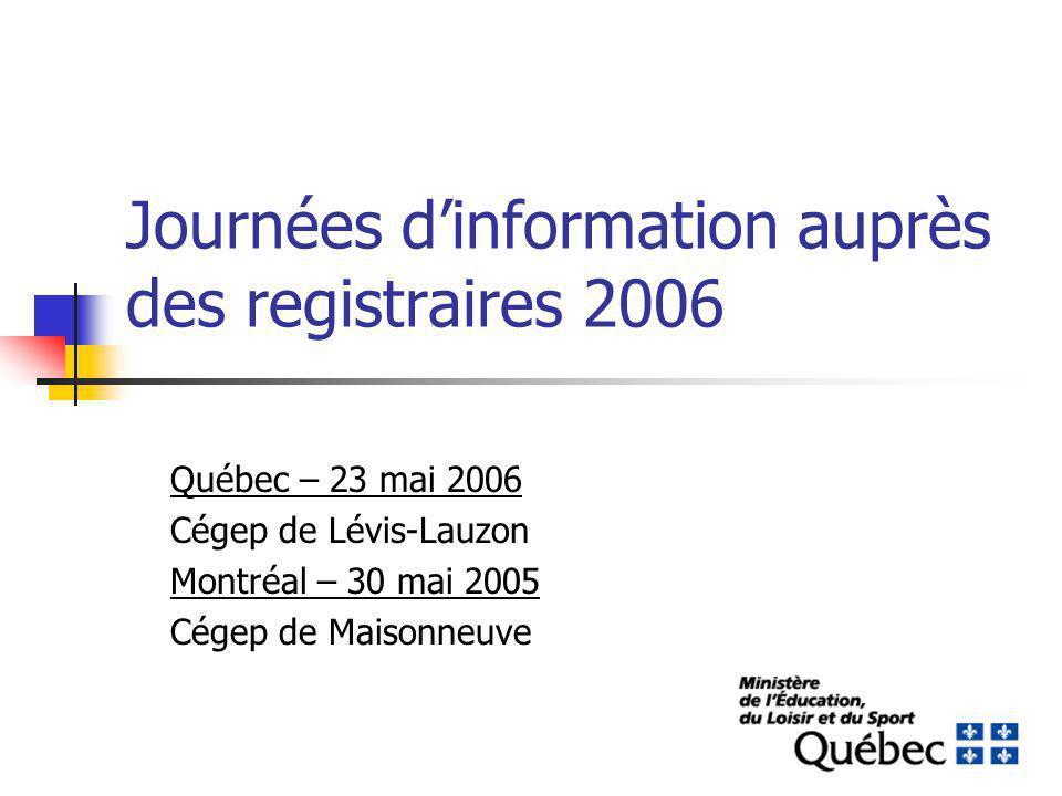 Journées dinformation auprès des registraires 2006 Québec – 23 mai 2006 Cégep de Lévis-Lauzon Montréal – 30 mai 2005 Cégep de Maisonneuve