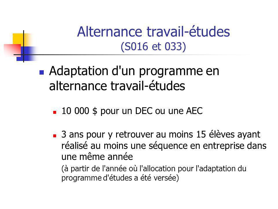 Alternance travail-études (S016 et 033) Adaptation d un programme en alternance travail-études 10 000 $ pour un DEC ou une AEC 3 ans pour y retrouver au moins 15 élèves ayant réalisé au moins une séquence en entreprise dans une même année (à partir de l année où l allocation pour l adaptation du programme d études a été versée)