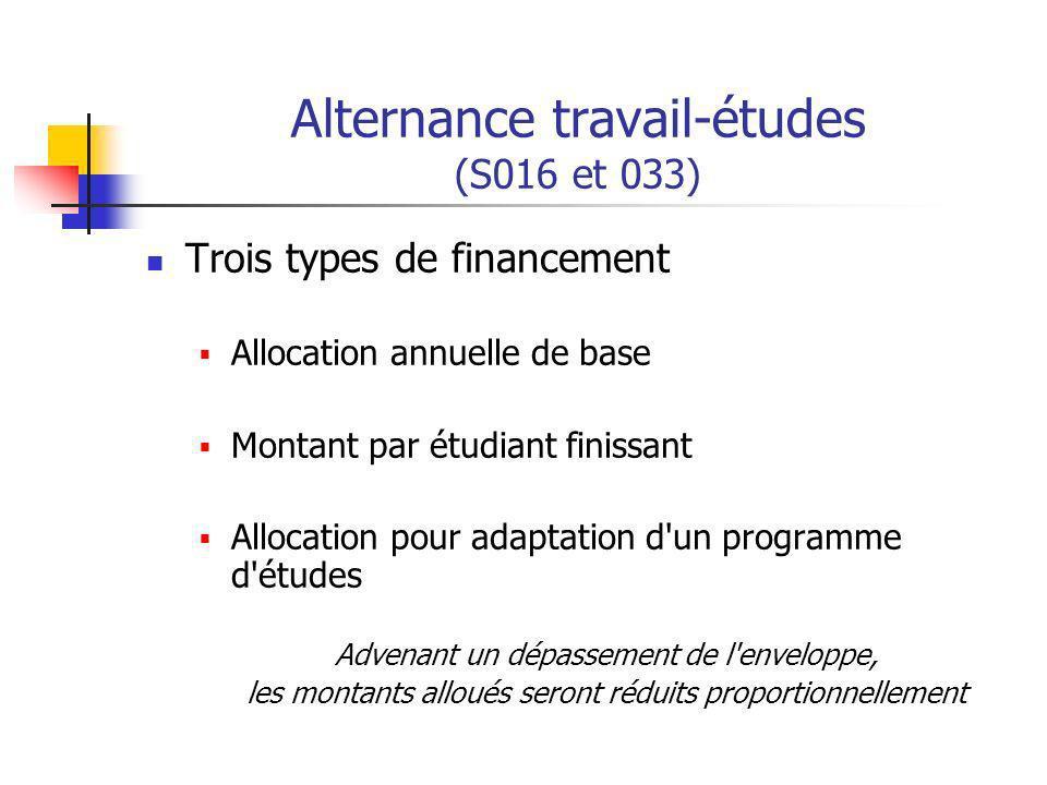 Alternance travail-études (S016 et 033) Trois types de financement Allocation annuelle de base Montant par étudiant finissant Allocation pour adaptation d un programme d études Advenant un dépassement de l enveloppe, les montants alloués seront réduits proportionnellement