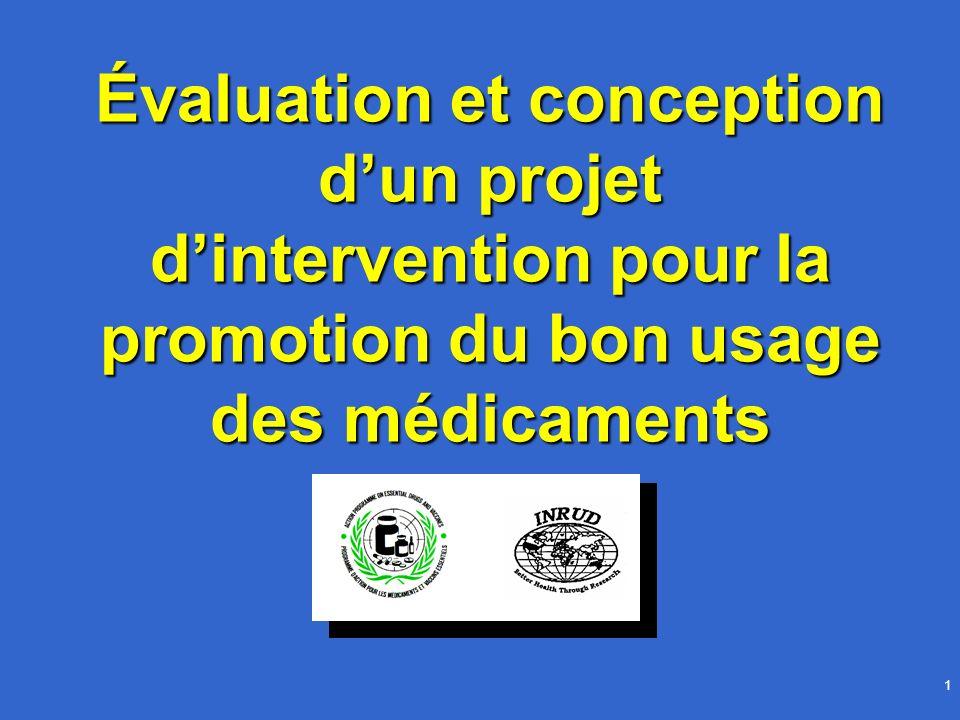 Les interventions sur le bon usage du médicament2 Objectifs Concevoir lévaluation dun projet dinterventionConcevoir lévaluation dun projet dintervention Développer un projet structuré permettant la mise en œuvre et lévaluation d une interventionDévelopper un projet structuré permettant la mise en œuvre et lévaluation d une intervention