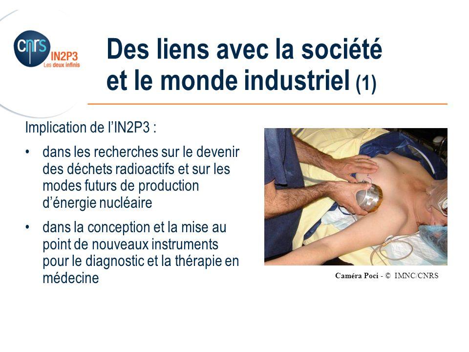 ______________________________________________ Des liens avec la société et le monde industriel (1) Implication de lIN2P3 : dans les recherches sur le