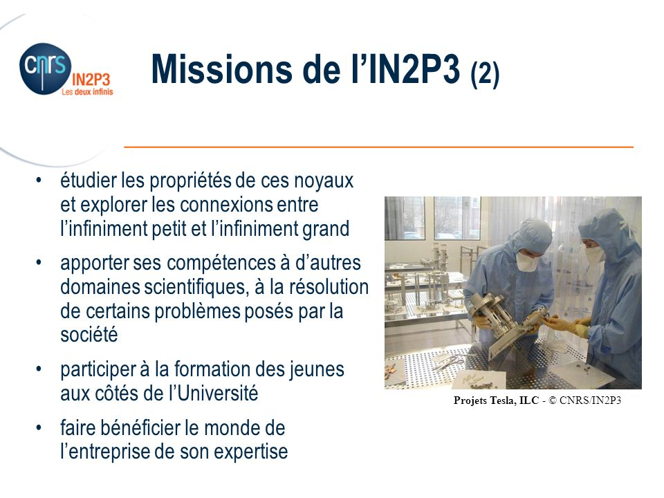 ______________________________________________ Missions de lIN2P3 (2) étudier les propriétés de ces noyaux et explorer les connexions entre linfinimen