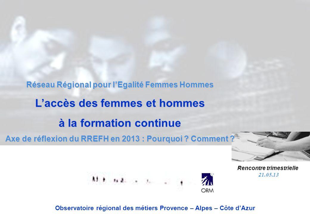 Réseau Régional pour lEgalité Femmes Hommes Laccès des femmes et hommes à la formation continue Axe de réflexion du RREFH en 2013 : Pourquoi ? Comment