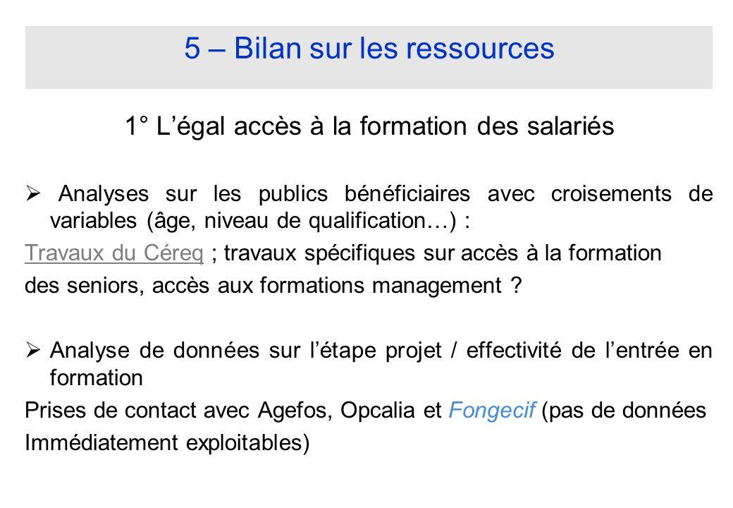 5 – Bilan sur les ressources 1° Légal accès à la formation des salariés Analyses sur les publics bénéficiaires avec croisements de variables (âge, niv