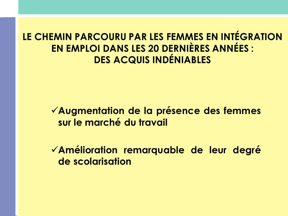LE CHEMIN PARCOURU PAR LES FEMMES EN INTÉGRATION EN EMPLOI DANS LES 20 DERNIÈRES ANNÉES : DES ACQUIS INDÉNIABLES Augmentation de la présence des femme
