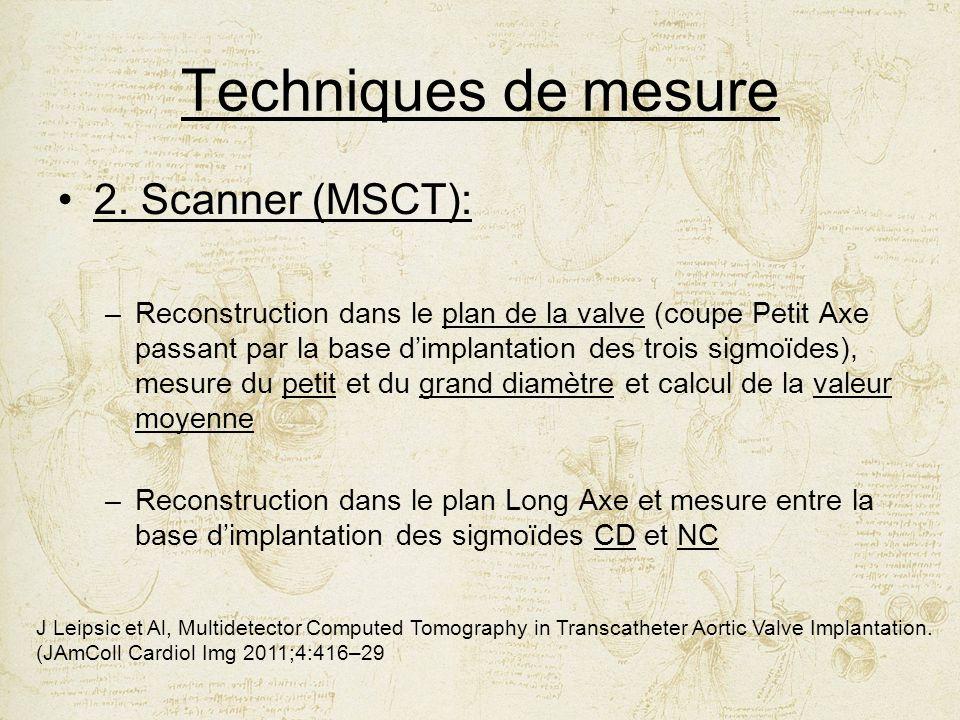 Techniques de mesure 2. Scanner (MSCT): –Reconstruction dans le plan de la valve (coupe Petit Axe passant par la base dimplantation des trois sigmoïde