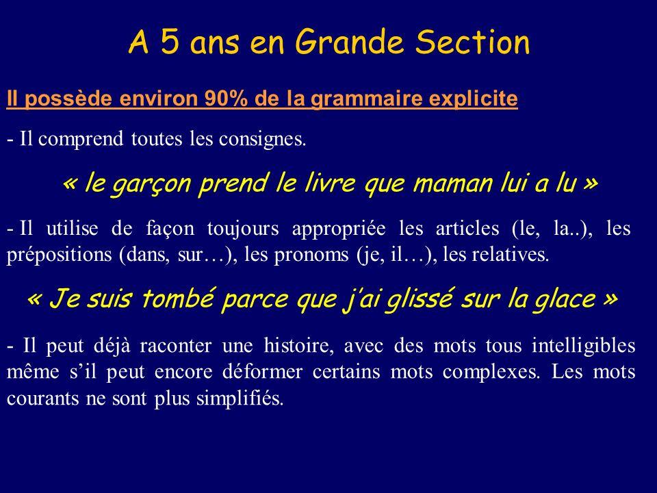 A 5 ans en Grande Section Il possède environ 90% de la grammaire explicite - Il comprend toutes les consignes.