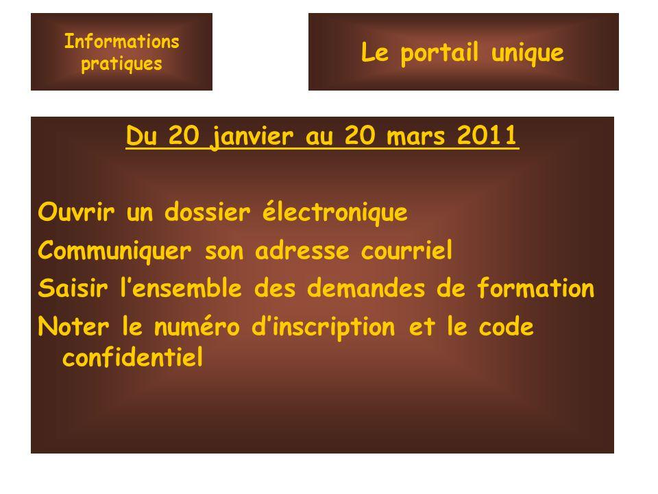 Informations pratiques Du 20 janvier au 20 mars 2011 Ouvrir un dossier électronique Communiquer son adresse courriel Saisir lensemble des demandes de