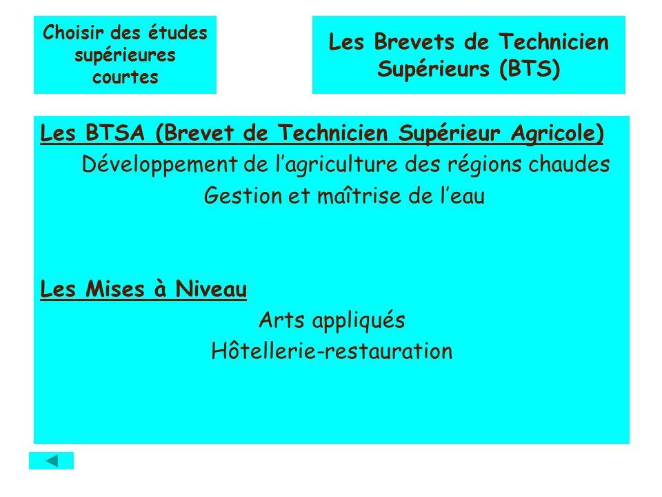 Choisir des études supérieures courtes Les BTSA (Brevet de Technicien Supérieur Agricole) Développement de lagriculture des régions chaudes Gestion et