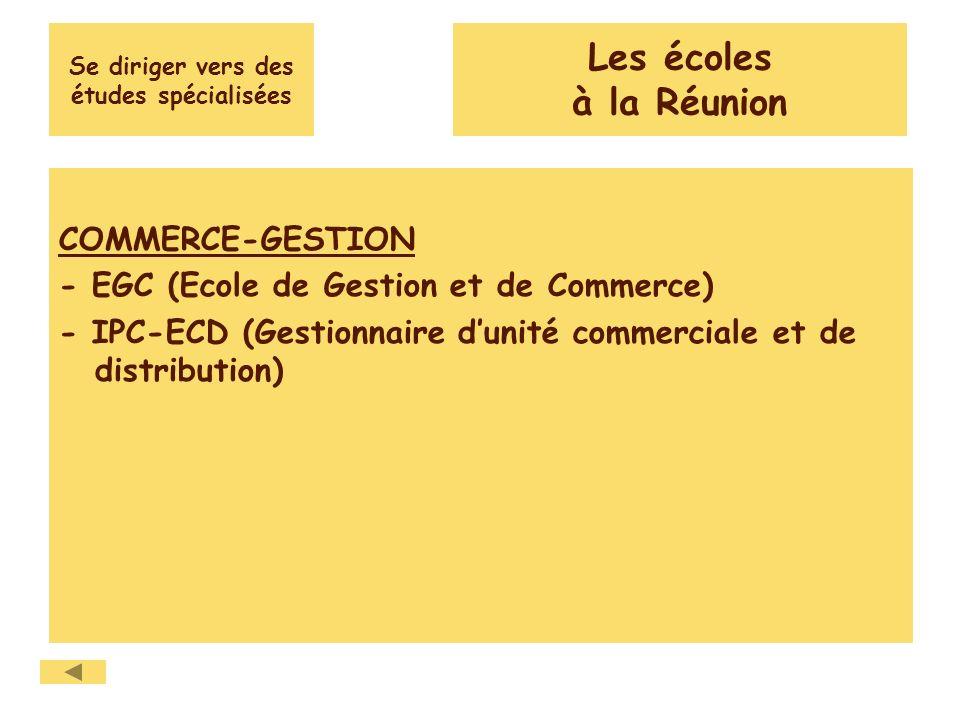 Se diriger vers des études spécialisées COMMERCE-GESTION - EGC (Ecole de Gestion et de Commerce) - IPC-ECD (Gestionnaire dunité commerciale et de dist