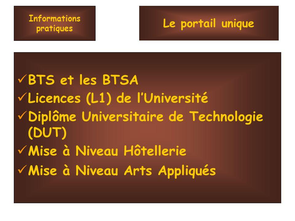 Informations pratiques BTS et les BTSA Licences (L1) de lUniversité Diplôme Universitaire de Technologie (DUT) Mise à Niveau Hôtellerie Mise à Niveau Arts Appliqués Le portail unique