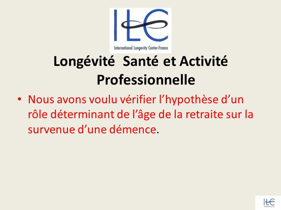Longévité Santé et Activité Professionnelle Nous avons voulu vérifier lhypothèse dun rôle déterminant de lâge de la retraite sur la survenue dune déme