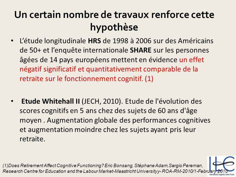 Un certain nombre de travaux renforce cette hypothèse Létude longitudinale HRS de 1998 à 2006 sur des Américains de 50+ et lenquête internationale SHA