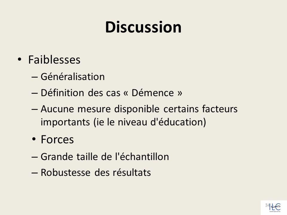 Discussion Faiblesses – Généralisation – Définition des cas « Démence » – Aucune mesure disponible certains facteurs importants (ie le niveau d'éducat