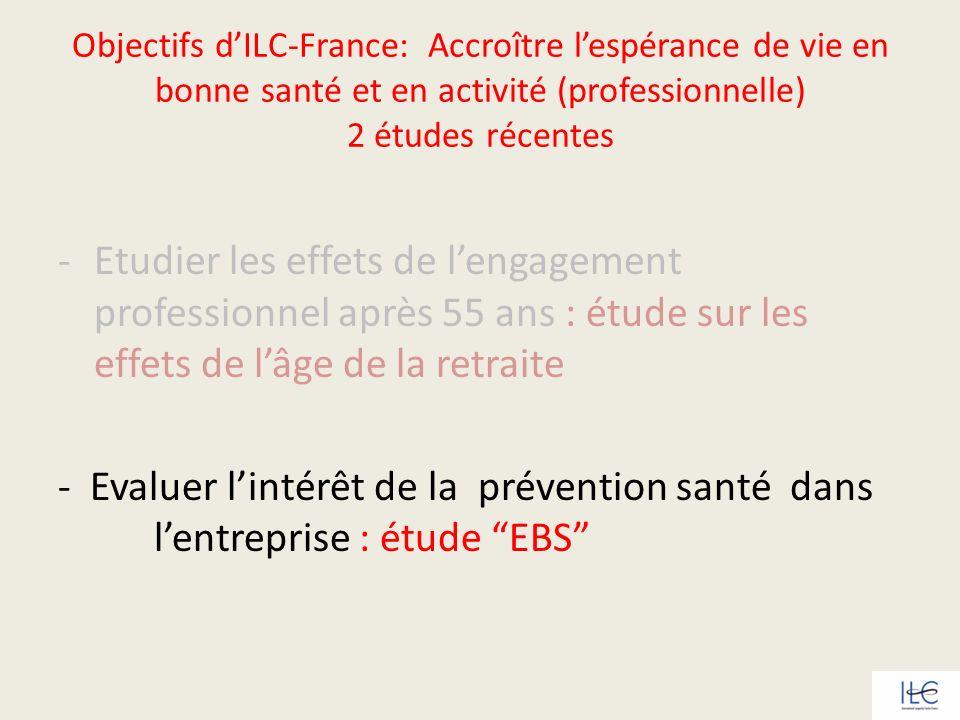 Objectifs dILC-France: Accroître lespérance de vie en bonne santé et en activité (professionnelle) 2 études récentes -Etudier les effets de lengagemen