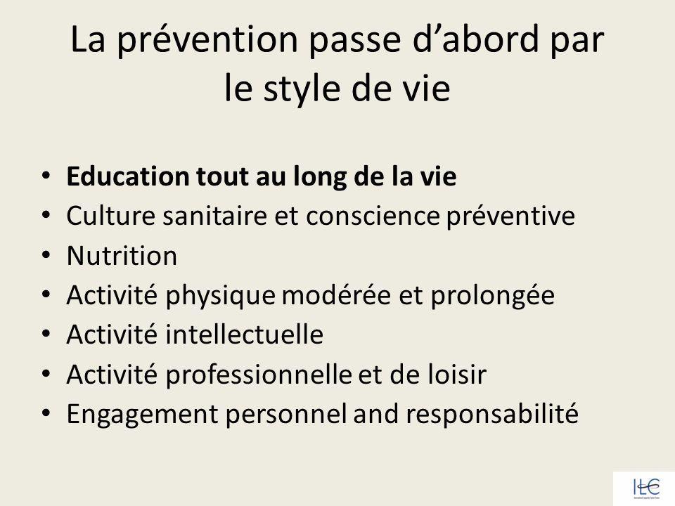 La prévention passe dabord par le style de vie Education tout au long de la vie Culture sanitaire et conscience préventive Nutrition Activité physique
