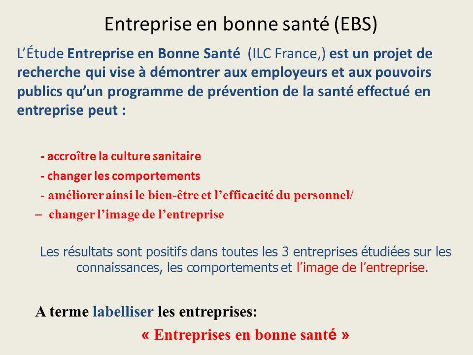 Entreprise en bonne santé (EBS) LÉtude Entreprise en Bonne Santé (ILC France,) est un projet de recherche qui vise à démontrer aux employeurs et aux p
