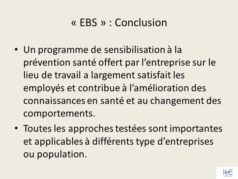 « EBS » : Conclusion Un programme de sensibilisation à la prévention santé offert par lentreprise sur le lieu de travail a largement satisfait les emp