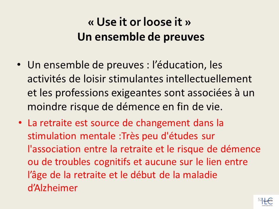 « Use it or loose it » Un ensemble de preuves Un ensemble de preuves : léducation, les activités de loisir stimulantes intellectuellement et les profe