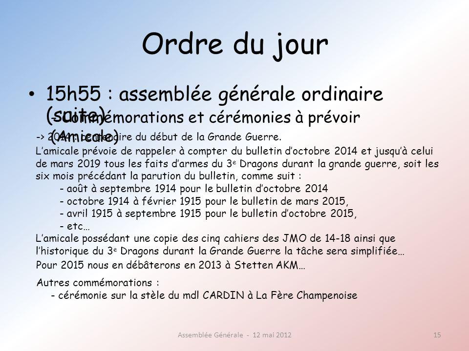 Ordre du jour 15h55 : assemblée générale ordinaire (suite) Assemblée Générale - 12 mai 201215 - Commémorations et cérémonies à prévoir (Amicale) -> 2014 : centenaire du début de la Grande Guerre.