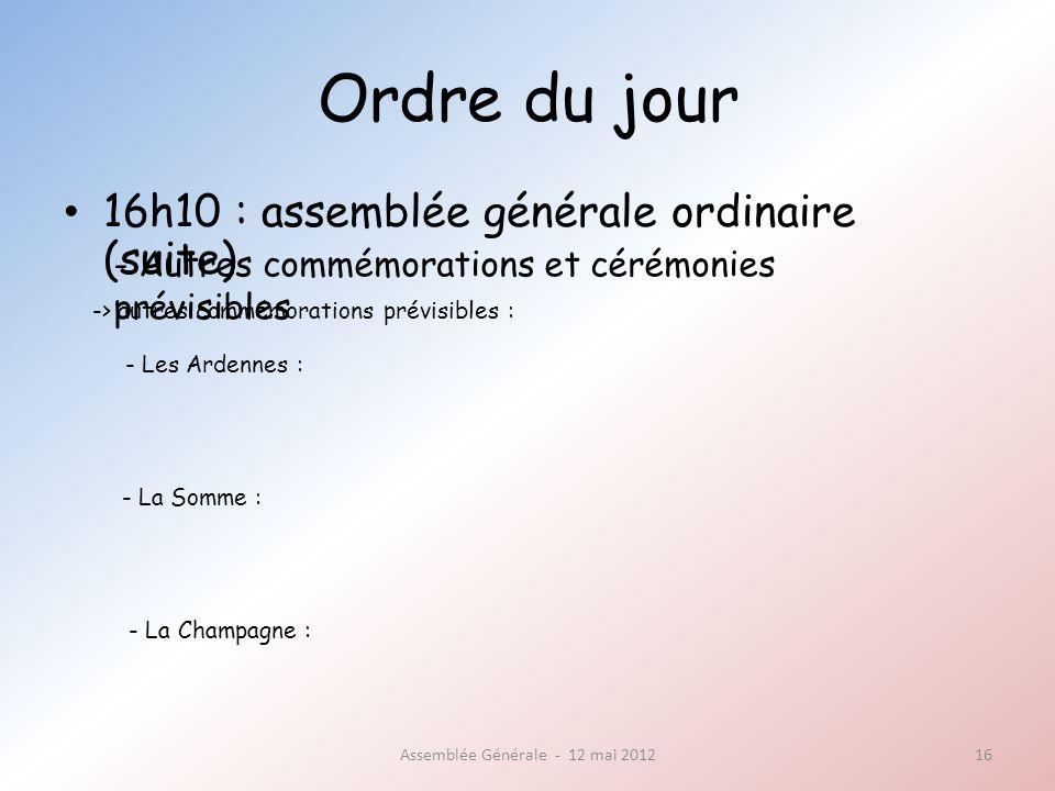Ordre du jour 16h10 : assemblée générale ordinaire (suite) Assemblée Générale - 12 mai 201216 - Autres commémorations et cérémonies prévisibles -> autres commémorations prévisibles : - Les Ardennes : - La Somme : - La Champagne :