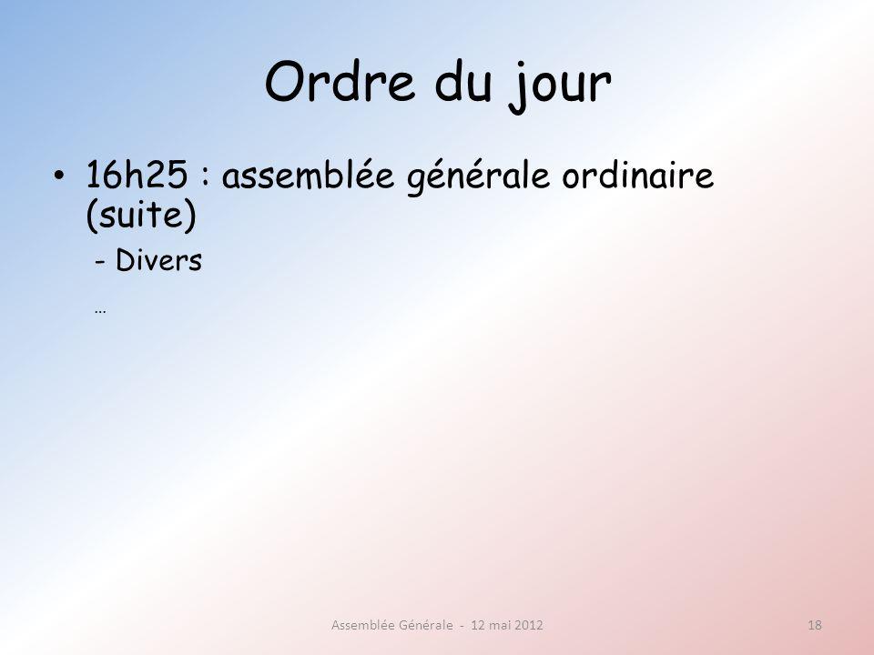 Ordre du jour 16h25 : assemblée générale ordinaire (suite) Assemblée Générale - 12 mai 201218 - Divers …