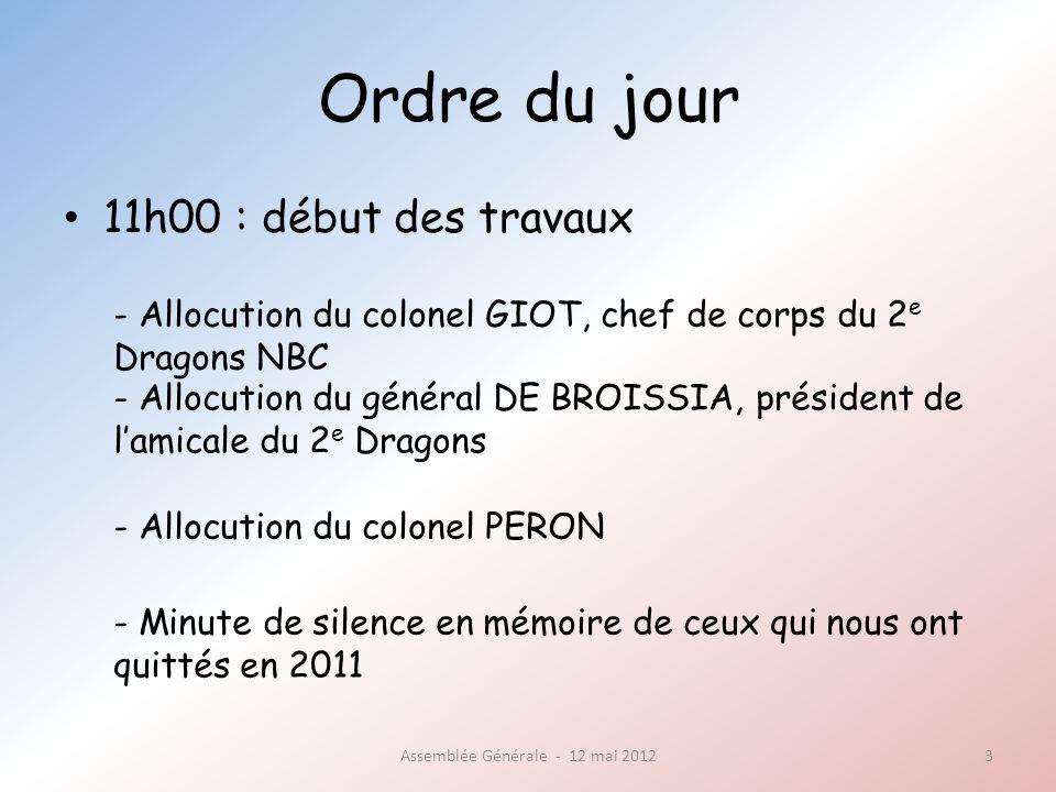 Ordre du jour 11h20 : assemblée générale ordinaire Assemblée Générale - 12 mai 20124 - Désignation du secrétaire de séance - Présentation du rapport moral - Vote du rapport moral