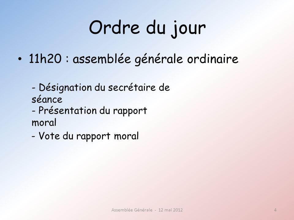 Ordre du jour 11h35 : assemblée générale ordinaire Assemblée Générale - 12 mai 20125 - Présentation du bilan financier - Vote du bilan financier, quitus au trésorier