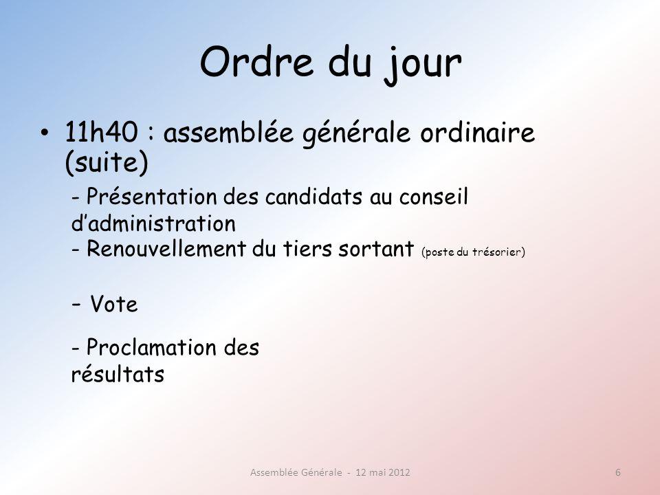 Ordre du jour 11h40 : assemblée générale ordinaire (suite) Assemblée Générale - 12 mai 20126 - Présentation des candidats au conseil dadministration - Renouvellement du tiers sortant (poste du trésorier) - Vote - Proclamation des résultats