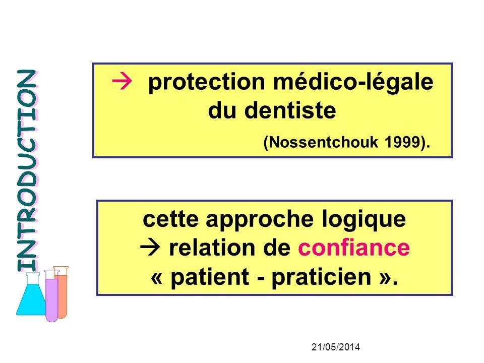 cette approche logique relation de confiance « patient - praticien ».
