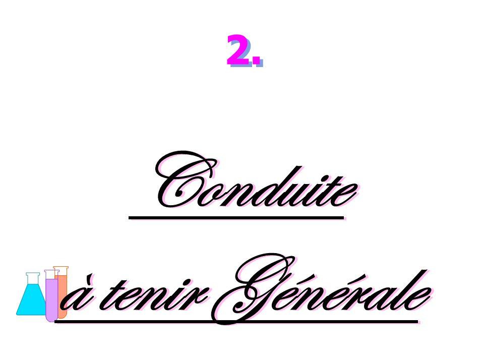Conduite à tenir Générale Conduite à tenir Générale 2.