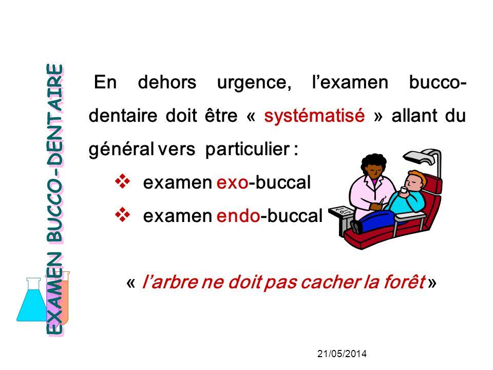 En dehors urgence, lexamen bucco- dentaire doit être « systématisé » allant du général vers particulier : examen exo-buccal examen endo-buccal « larbre ne doit pas cacher la forêt » EXAMEN BUCCO-DENTAIRE 21/05/2014