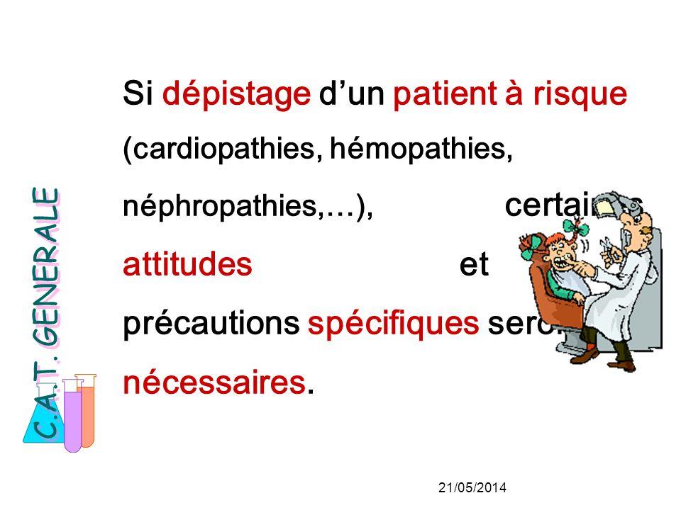 Si dépistage dun patient à risque (cardiopathies, hémopathies, néphropathies,…), certaines attitudes et précautions spécifiques seront nécessaires.