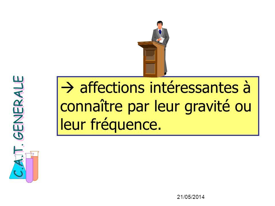 affections intéressantes à connaître par leur gravité ou leur fréquence. C.A.T. GENERALE 21/05/2014