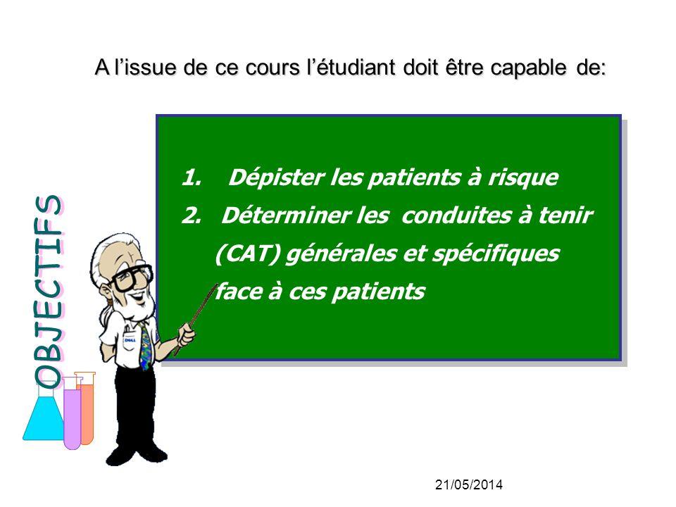 1.Dépister les patients à risque 2.