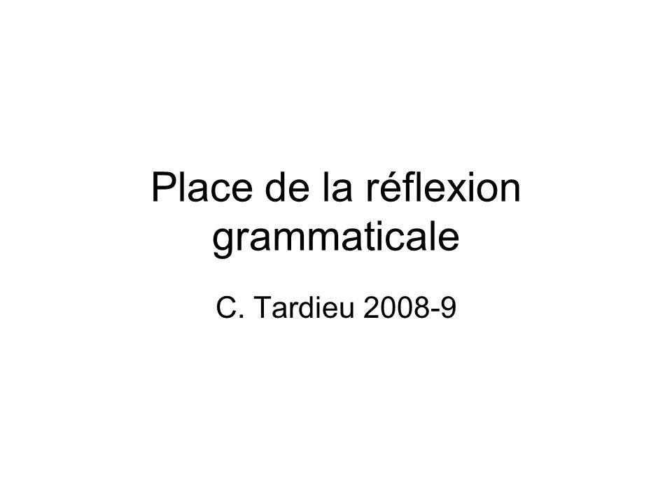 Place de la réflexion grammaticale C. Tardieu 2008-9
