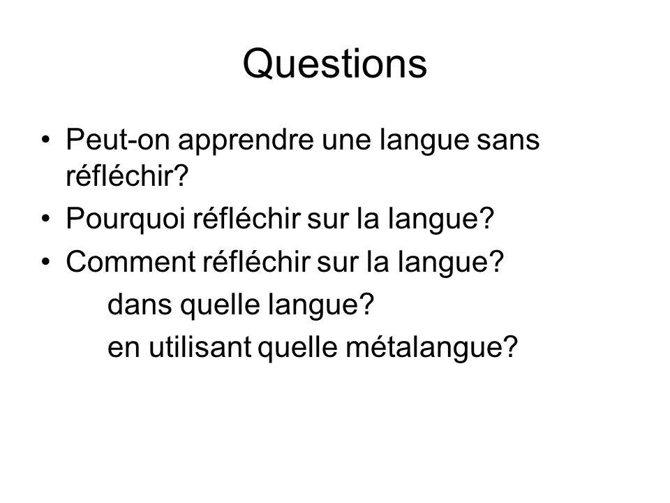 Questions Peut-on apprendre une langue sans réfléchir? Pourquoi réfléchir sur la langue? Comment réfléchir sur la langue? dans quelle langue? en utili