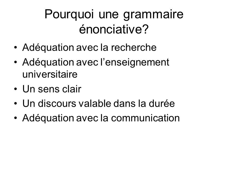 Pourquoi une grammaire énonciative? Adéquation avec la recherche Adéquation avec lenseignement universitaire Un sens clair Un discours valable dans la