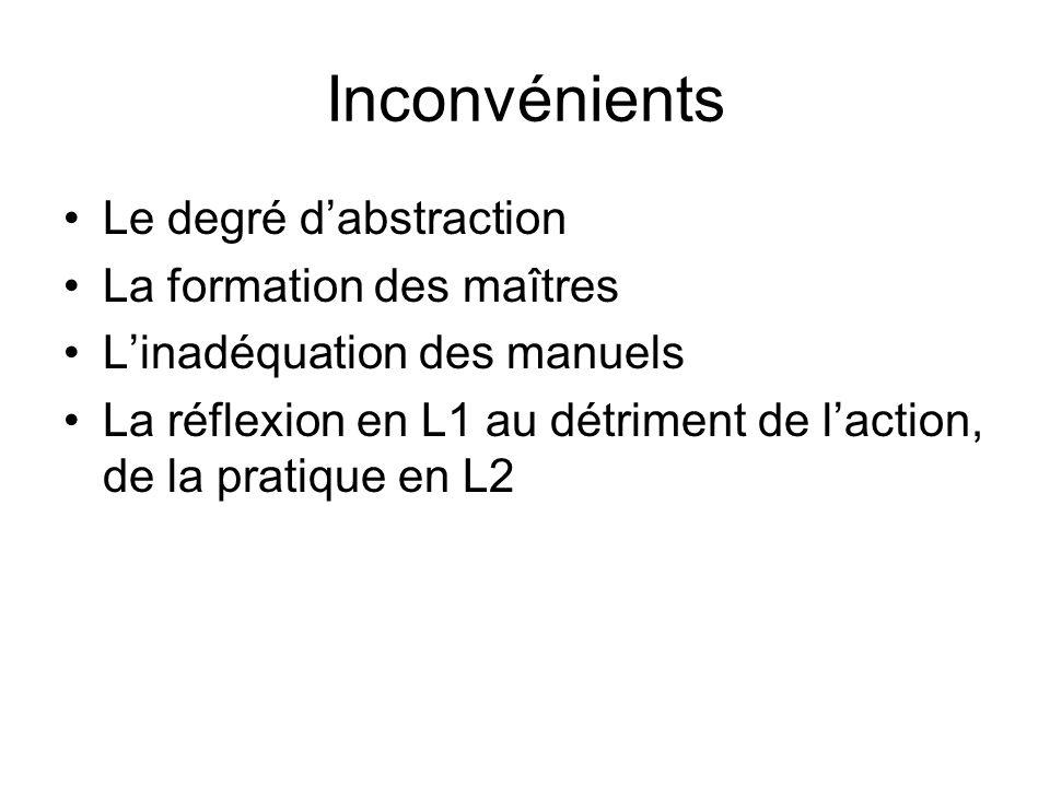 Inconvénients Le degré dabstraction La formation des maîtres Linadéquation des manuels La réflexion en L1 au détriment de laction, de la pratique en L