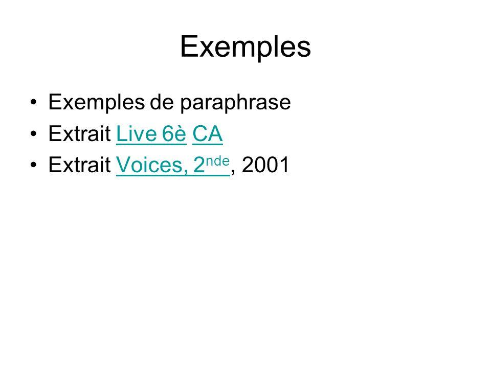 Exemples Exemples de paraphrase Extrait Live 6è CALive 6èCA Extrait Voices, 2 nde, 2001Voices, 2 nde