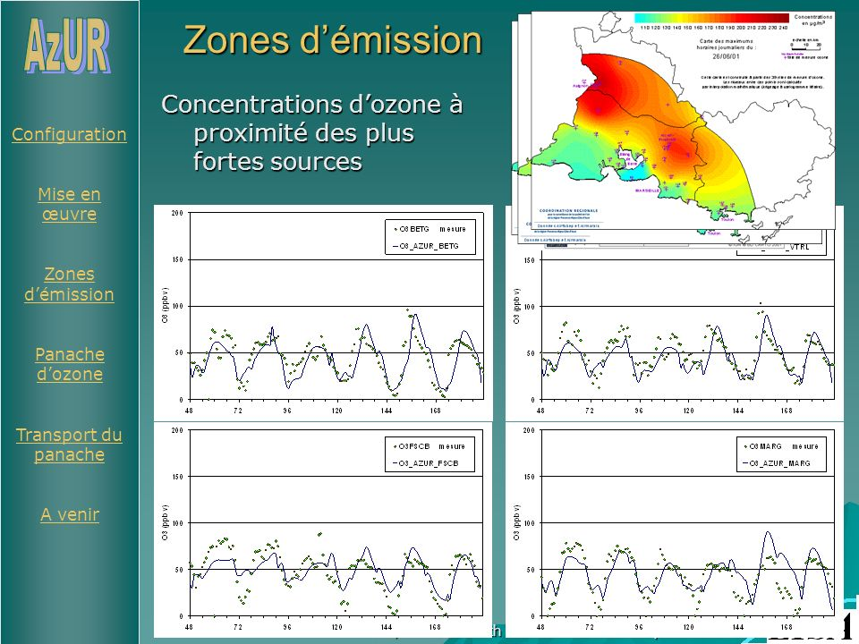 Configuration Mise en œuvre Zones démission Panache dozone Transport du panache A venir 5-6/05 2004 - 6th ESCOMPTE Workshop Zones démission Concentrations dozone à proximité des plus fortes sources