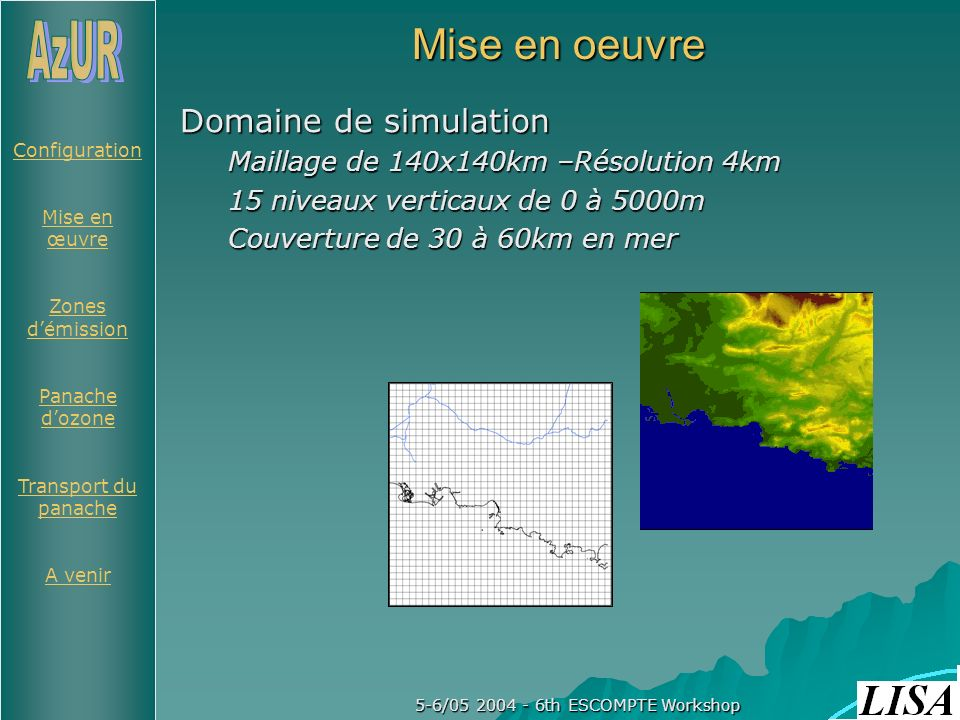 Configuration Mise en œuvre Zones démission Panache dozone Transport du panache A venir 5-6/05 2004 - 6th ESCOMPTE Workshop Mise en oeuvre Domaine de simulation Maillage de 140x140km –Résolution 4km 15 niveaux verticaux de 0 à 5000m Couverture de 30 à 60km en mer