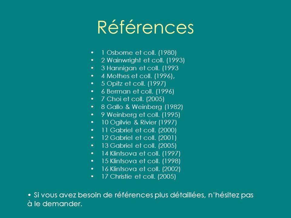 Références 1 Osborne et coll. (1980) 2 Wainwright et coll. (1993) 3 Hannigan et coll. (1993 4 Mothes et coll. (1996), 5 Opitz et coll. (1997) 6 Berman