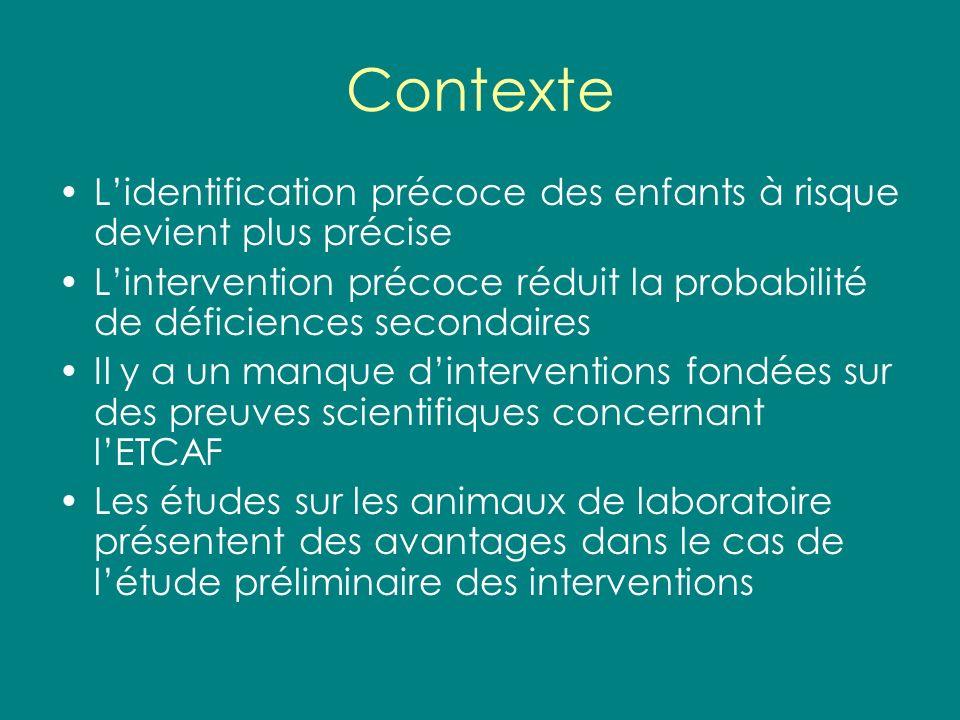 Contexte Lidentification précoce des enfants à risque devient plus précise Lintervention précoce réduit la probabilité de déficiences secondaires Il y