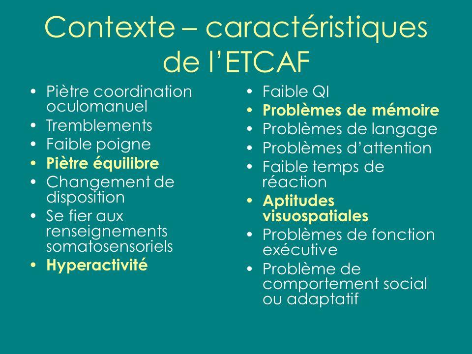 Contexte – caractéristiques de lETCAF Piètre coordination oculomanuel Tremblements Faible poigne Piètre équilibre Changement de disposition Se fier au