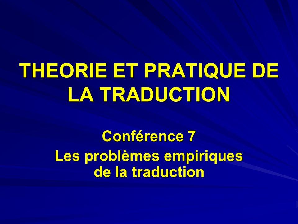 THEORIE ET PRATIQUE DE LA TRADUCTION Conférence 7 Les problèmes empiriques de la traduction