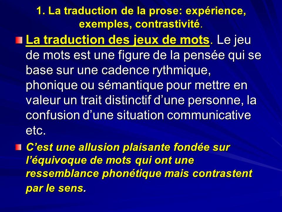 1. La traduction de la prose: expérience, exemples, contrastivité. La traduction des jeux de mots. Le jeu de mots est une figure de la pensée qui se b
