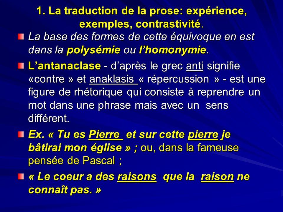 1. La traduction de la prose: expérience, exemples, contrastivité. La base des formes de cette équivoque en est dans la polysémie ou lhomonymie. Lanta