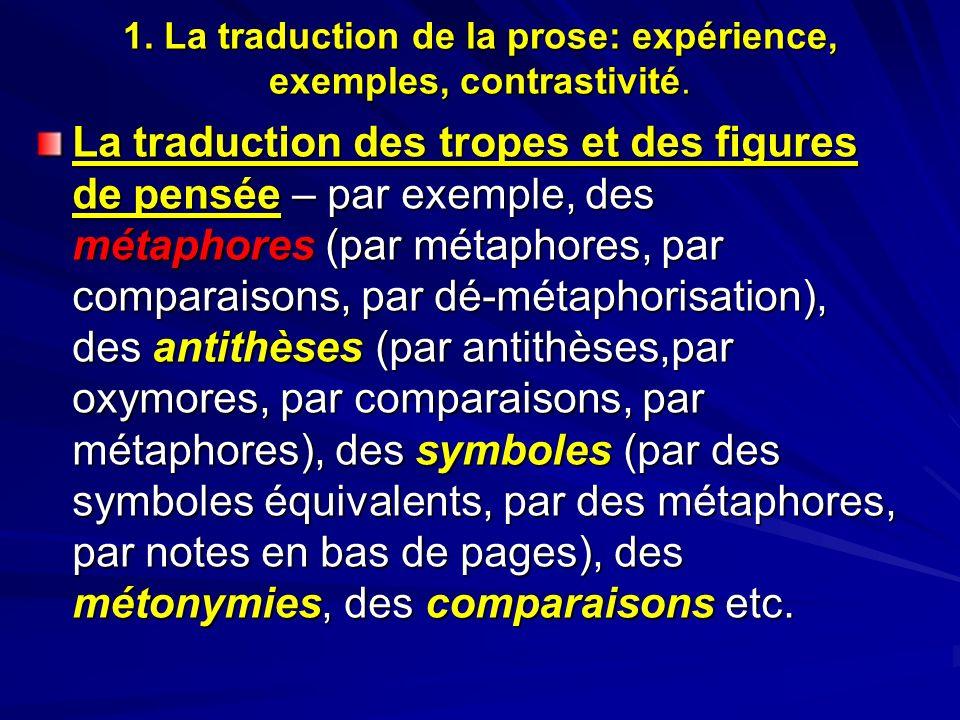 1. La traduction de la prose: expérience, exemples, contrastivité. La traduction des tropes et des figures de pensée – par exemple, des métaphores (pa