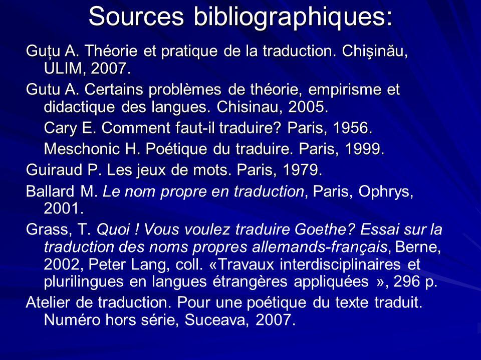 Sources bibliographiques: Guţu A. Théorie et pratique de la traduction. Chişinău, ULIM, 2007. Gutu A. Certains problèmes de théorie, empirisme et dida